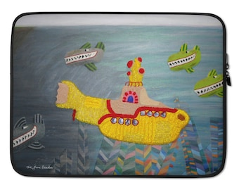 """The HIJACK - Beatles Yellow Submarine Printed Image- Designer Laptop Sleeve or MacBook Cover 13"""" or 15"""" MADE to ORDER"""