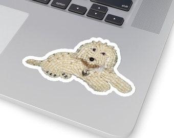 LABRADOODLE LOVE- Original Artwork Printed Image Kiss-Cut Dog Stickers- Laptop Sticker, Water Bottle Sticker, Animal Stickers- MADE To Order