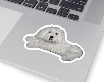 BICHON FRISE- Original Artwork Printed Image Kiss-Cut Dog Stickers- Laptop Sticker, Water Bottle Sticker, Animal Stickers- Made to Order