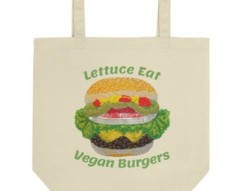 Lettuce Eat Vegan Burgers Eco Reusable Tote Cheeseburger Shopping Bag - Vegetarian Gift - Best Friend Gift, Holiday Gift MADE TO ORDER