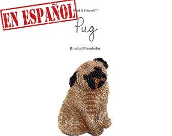 PDF en español: PUG patrón de bordado con cuentas de prendedor de perro + Tutorial de Introducción a Básico Bordados con Cuentas