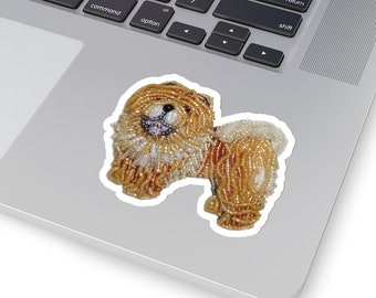 CHOW CHOW- Original Artwork Printed Image Kiss-Cut Dog Stickers- Laptop Sticker, Water Bottle Sticker, Animal Stickers- MADE To Order