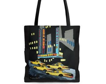 RADIO CITY- Printed Image Black Reusable Shopping Tote Bag- NyC New York City Music Hall Rockettes Art Print- Made to Order