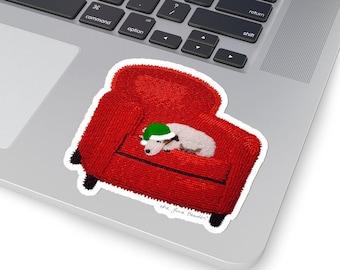 Holiday JACK RUSSELL Terrier- Original Artwork Printed Image Kiss-Cut Dog Sticker- Laptop Sticker, Water Bottle Sticker -MADE To Order