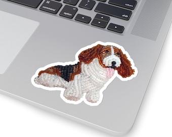 BASSET HOUND- Original Artwork Kiss-Cut Dog Stickers- Laptop Sticker, Water Bottle Sticker, Animal Sticker- MADE to Order