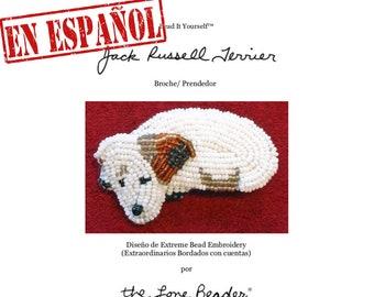 PDF en español: JACK RUSSELL patrón de bordado con cuentas de prendedor de perro + Tutorial de Introducción a Básico Bordados con Cuentas