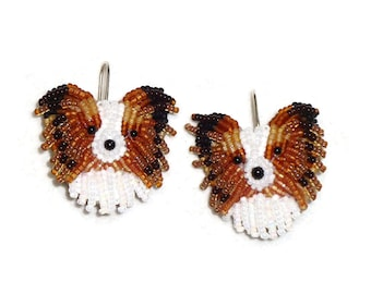 5104e8daad880 PAPILLON beaded keepsake bead embroidery & sterling silver dog earrings-  Gift for Her (Made to Order) (a)