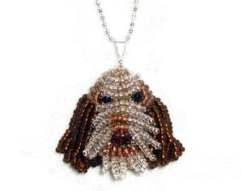 Beaded ITALIAN SPINONE sterling silver slide necklace tiny dog pendant jewelry (Made to Order)