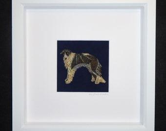 Beaded BORZOI Russian Wolfhound at Night Mini Pet Portrait- Framed Dog Art- 8x8 shadowbox (Ready to Ship) (a)