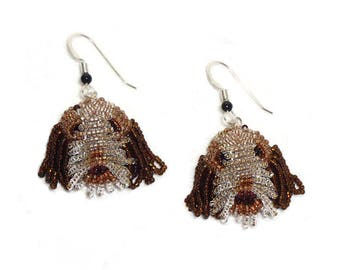 ITALIAN SPINONE beaded sterling silver dog earrings bead embroidery jewelry/ Ready to Ship (a)