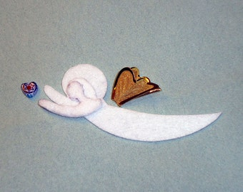 VENETIAN ANGEL Felt Shape w/ Wings for Bead Embroidery, Beaded Ornament, Crafting, or Embellishment