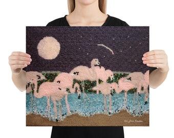 Flamingo Moon- Printed Image Pink beaded bird art print 8x10, 12x16, 16x20 Premium Photo paper poster- MADE to ORDER