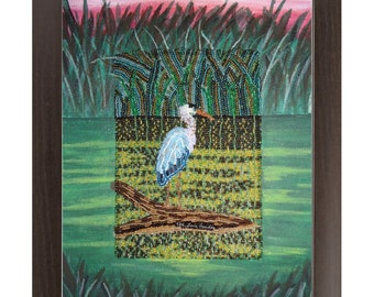 Great Blue Heron- Printed Image Bird Nature- Framed Contemporary Art Print 8x10, 11x14, 16x20 - Made To Order