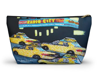 RADIO CITY- NyC New York City Music Hall Rockettes Art Print Accessory Cosmetic Travel Pouch w T-bottom - Gift for Her- Made to Order
