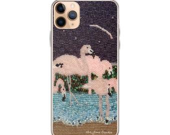 Flamingo Moon- Tropical Bird Art Print Printed Image- iPhone Case- iPhone 12 Pro iPhone 11 iPhone X iPhone 7/ 8 iPhone SE - MADE To ORDER