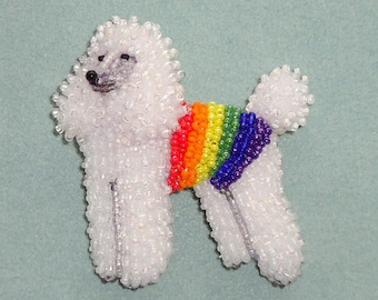 RAINBOW POODLE pin pendant beaded keepsake LGBT jewelry dog necklace (Made to Order in color of your choice)