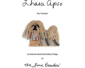 Set of 2 PDF Files: LHASA APSO Dog Pin Beading Pattern + Intro to Bead Embroidery Cat Tutorial
