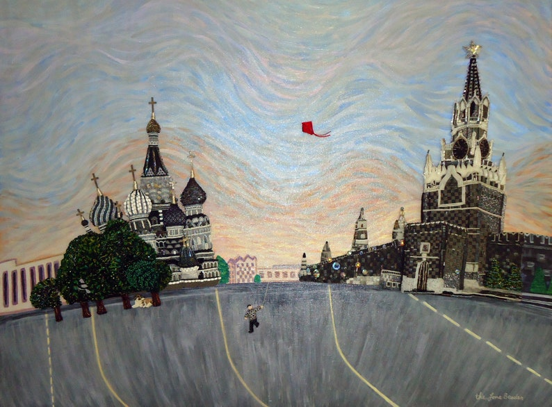 RED SQUARE Extreme Bead Embroidery Beadwork on Canvas painting image 0
