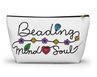 Beading Mind & Soul- Beads Gems Crystals Printed Image Travel Storage Accessory Pouch w T-bottom - Made to Order