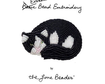 PDF file: Intro to Extreme Bead Embroidery tutorial- Beaded Cat Pin (For Personal Use Only)