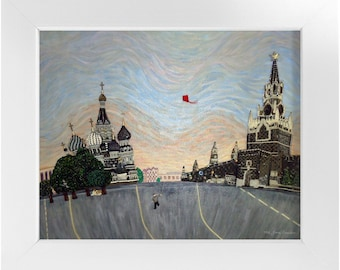 RED SQUARE- Printed Image St Basils Cathedral Moscow Russia- Framed Contemporary Art Print 8x10, 11x14, 16x20, 18x24 - Made To Order