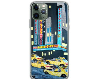 Radio City- NyC New York City Music Hall Art Print iPhone Cover- iPhone 12 Pro iPhone 11 iPhone X iPhone 7/ 8 iPhone SE- MADE to ORDER