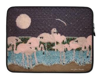 "Flamingo Moon- Pink Tropical Bird Art Print Printed Image 13"" or 15"" Designer Laptop Sleeve - MADE to ORDER"