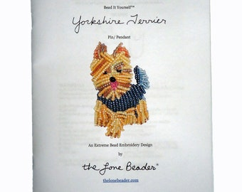 Beading Kit: YORKIE Yorkshire Terrier Dog Brooch Bead Embroidery Beaded Animal 15/0 seed beads (For Personal Use Only)