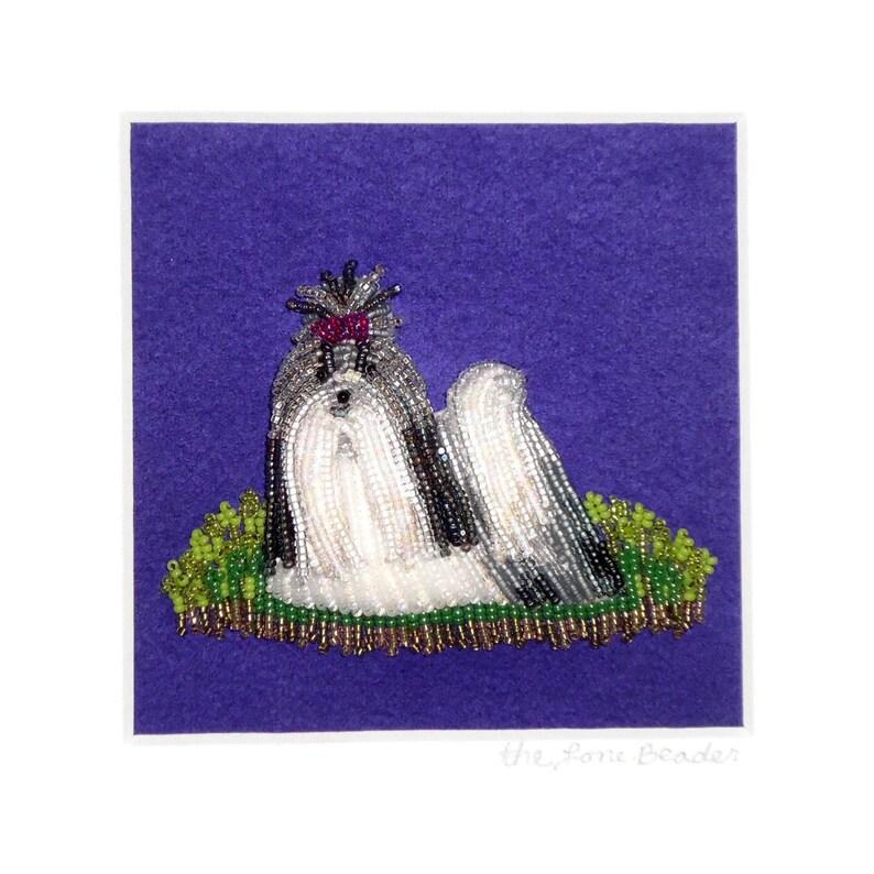 SHIH TZU Beaded Dog Pet Portrait Whimsical Framed Bead image 0