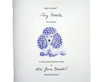 Beading Kit: PURPLE TOY POODLE Dog Pin Bead Embroidery Beaded Animal Pendant 11/0 seed beads (For Personal Use Only)