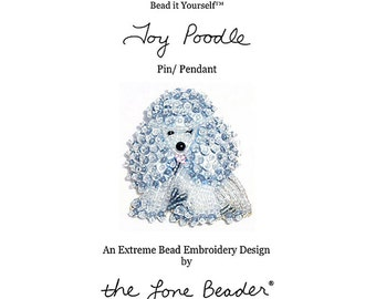 Set of 2 PDF Files: TOY POODLE Dog Pin Beading Pattern + Intro to Bead Embroidery Cat Tutorial