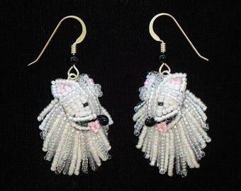 Beaded AMERICAN ESKIMO keepsake bead embroidery Eskie dog earrings- Gift for Her (Made to Order)