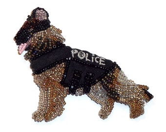 POLICE DOG Beaded German Shepherd Pin Pendant Bead Embroidery Jewelry Gift for Her (Ready to Ship) (a)