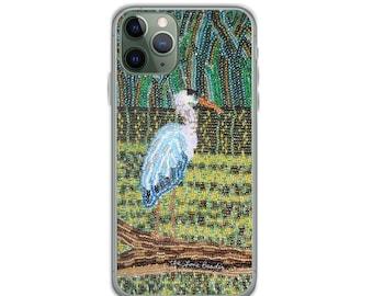 Great Blue Heron - Beaded Bird Print Printed Image iPhone Case- iPhone 12 Pro iPhone 11 iPhone X iPhone 7/ 8 iPhone SE - MADE to ORDER