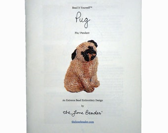 Beading Kit: PUG Bead Embroidery Dog Pin Beaded Animal Pendant 15/0 seed beads (For Personal Use Only)