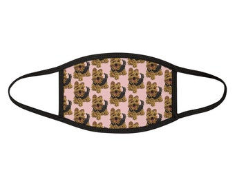 LUV YORKIES Yorkshire Terrier Pink Yorkie Face Mask- Mixed- Fabric Dog Print Face Covering- One Size- MADE to Order