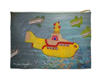 The HIJACK - Beatles Yellow Submarine Art Print Printed Image Cosmetic Travel Pencil Accessory Pouch - Made to Order