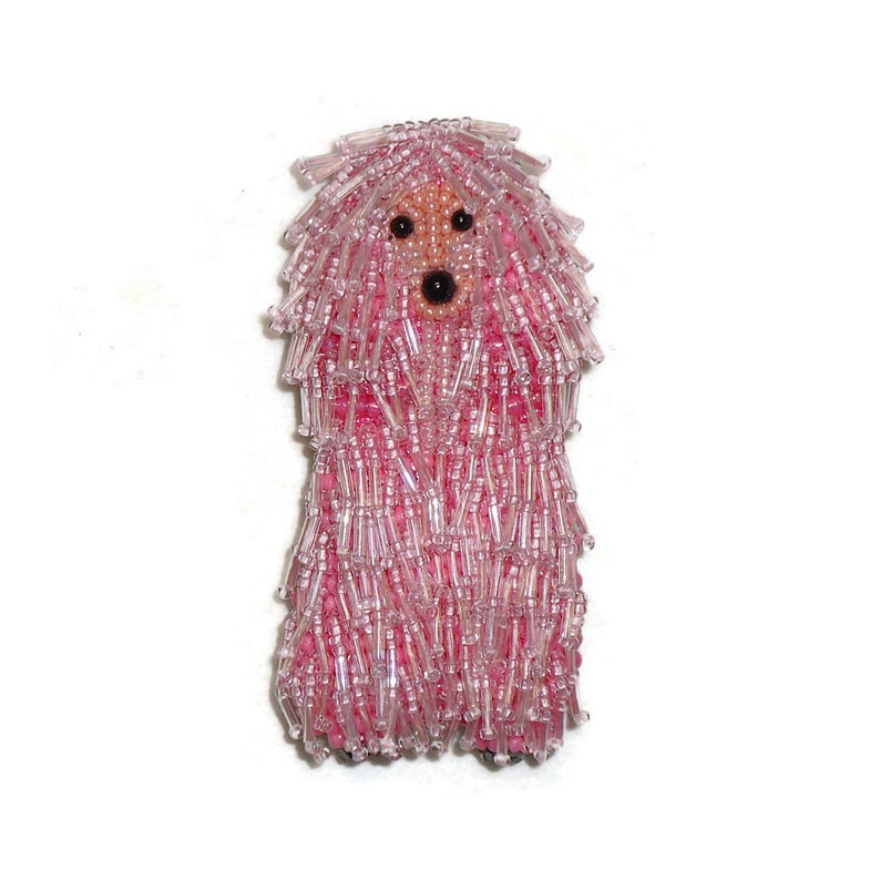 Corded POODLE pin pendant beaded keepsake dog jewelry Made to image 0
