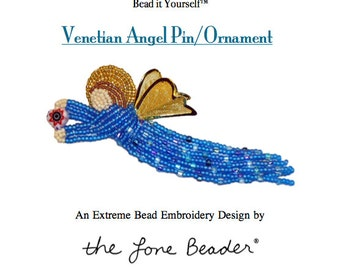 Set of 2 PDF Files: VENETIAN ANGEL Pin Beading Pattern + Intro to Bead Embroidery Cat Tutorial