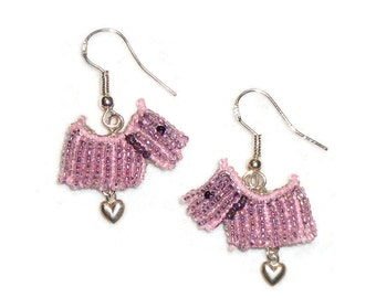 Pink Beaded SCOTTIE DOG Scottish Terrier sterling silver dangly earrings / Ready to Ship