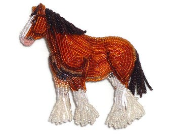 CUSTOM Beaded Horse pin oversized bead embroidery equestrian brooch (Made to Order)