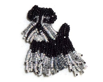 Black & Silver MINIATURE SCHNAUZER keepsake beaded dog pin pendant art jewelry (Ready to Ship)