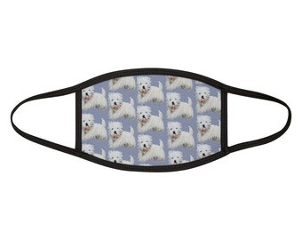 LUV WESTIES West Highland White Terrier Blue Westie Face Mask- Mixed- Fabric Dog Print Face Covering- One Size- MADE to Order