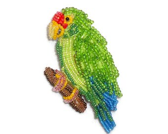 BLUE WINGED AMAZON Parrot - Bead Embroidery Bird Pin or Beaded Brooch (Ready to Ship)