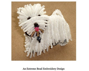 Set of 2 PDF Files: WESTIE West Highland White Terrier Dog Pin Beading Pattern + Intro to Bead Embroidery Cat Tutorial