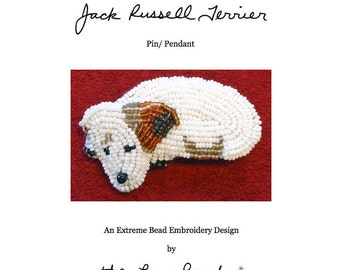 Set of 2 PDF Files: JACK RUSSELL Terrier Dog Pin Beading Pattern + Intro to Bead Embroidery Cat Tutorial