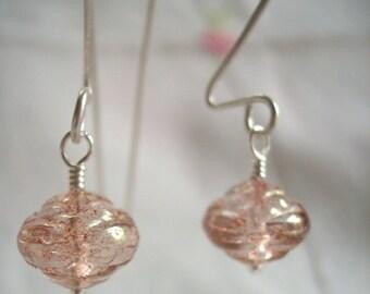 Simple Pink Rose Earrings