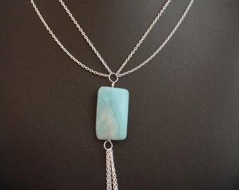 Amazonite and Silver Chain