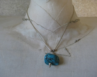 Turquoise Sterling Necklace Pendant Vintage Silver 925 Bead