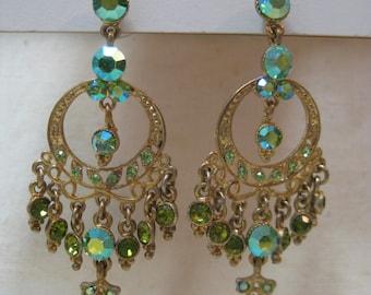 Chandelier Green Rhinestone Earrings Pierced Post Aurora Gold Vintage Dangle